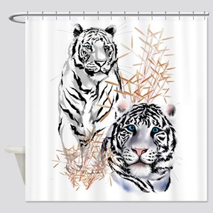 White Tigers Trans Shower Curtain