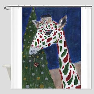 Christmas Giraffe Shower Curtain