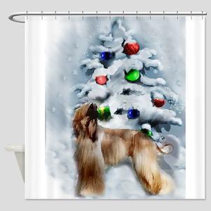 Afghan Hound Christmas Shower Curtain