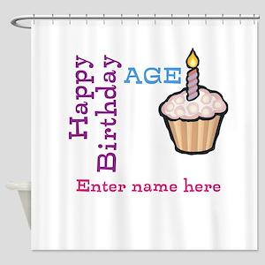 Personalized Birthday Cupcake Shower Curtain
