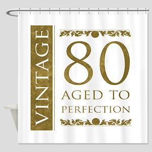 Fancy Vintage 80th Birthday Shower Curtain