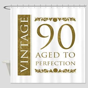 Fancy Vintage 90th Birthday Shower Curtain