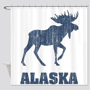 Retro Alaska Moose Shower Curtain