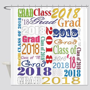 2018 Graduation Typography Shower Curtain