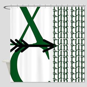 XC Run Green Black Shower Curtain
