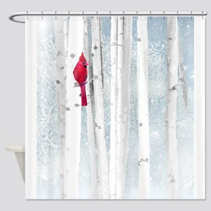 Red Cardinal Bird Snow Birch Trees Shower Curtain