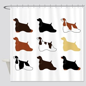 Colorful Cockers in a Grid Shower Curtain