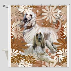 Afghan Hound Floral Shower Curtain