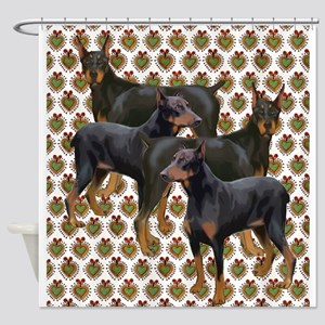 doberman grouping Shower Curtain