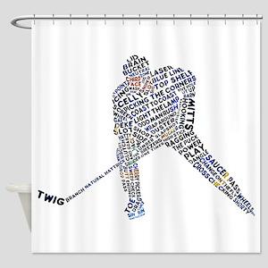 Hockey Player Typography Shower Curtain