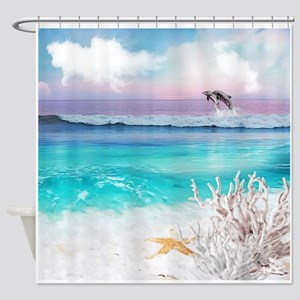 Beach and Ocean Dancing Dolphins Shower Curtain