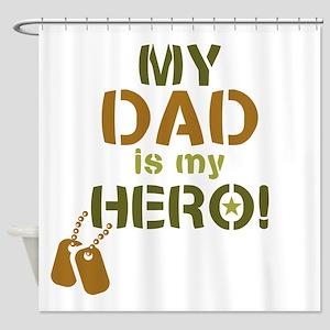 Dog Tag Hero Dad Shower Curtain
