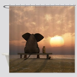 Elephant and Dog Friends Shower Curtain