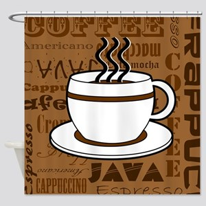 Coffee Words Jumble Print - Brown Shower Curtain
