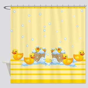 Rubber Duckies Yellow Shower Curtain