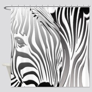 Silver Zebra Fantasy Shower Curtain