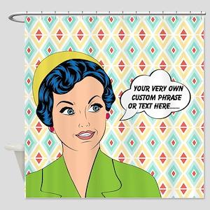 Custom Text Pop Art Woman Shower Curtain