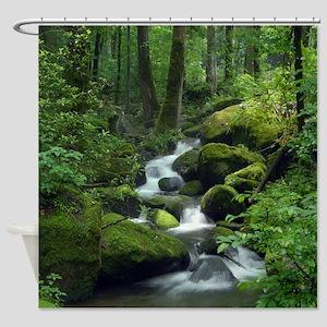 Summer Forest Brook Shower Curtain