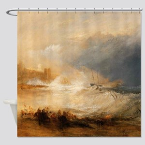 Wreckers on the coast by Turner Shower Curtain