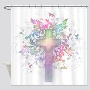 Rainbow Floral Cross Shower Curtain