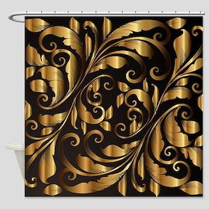 vintage floral gold Shower Curtain