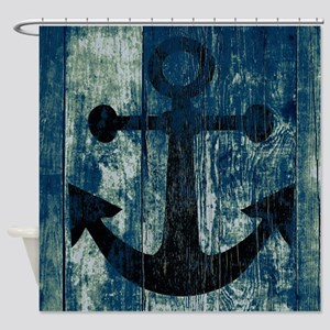 Nautical Anchor Wood boards Shower Curtain