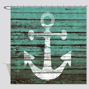 Turquoise Nautical Boards Shower Curtain