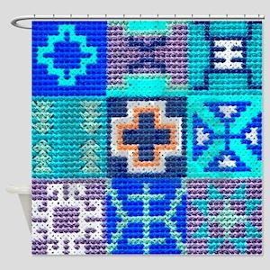 Blue Navajo Symbols Shower Curtain