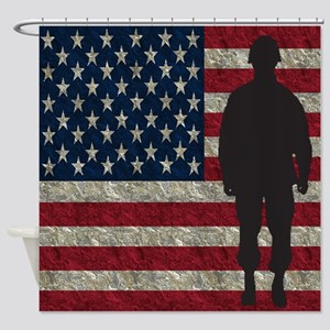 USFlag Soldier Shower Curtain