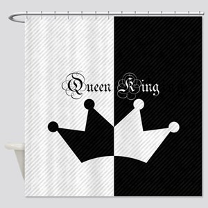 His Hers King Queen Crown Black White Shower Curta