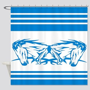 Blue and White Horse Art Shower Curtain