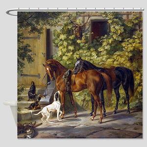 Adam Albrecht Horses at the Porch Shower Curtain
