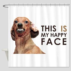 Happy Face Dachshund Shower Curtain