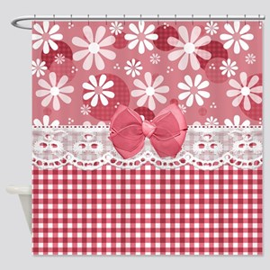 Pretty Pink Gingham Daisies Shower Curtain