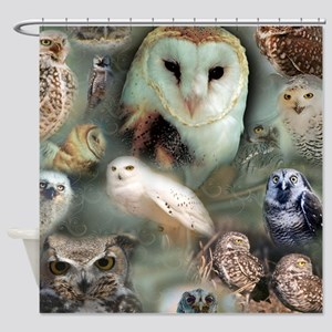 Happy Owls Shower Curtain