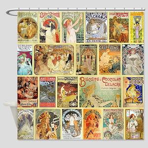 Art Nouveau Advertisements Collage Shower Curtain