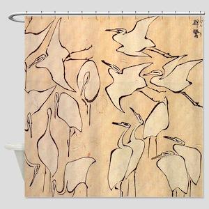 Hokusai Cranes Shower Curtain