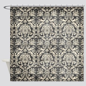 Popular Vintage Black White Damask Pattern Shower