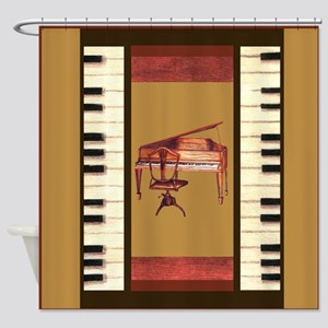 Piano Keys Federal Piano square Shower Curtain