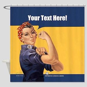 CUSTOM TEXT Vintage Rosie Shower Curtain