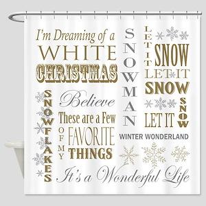 modern vintage Christmas words Shower Curtain