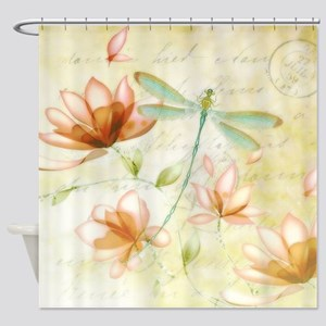 Pink flowers and dragonfly Shower Curtain