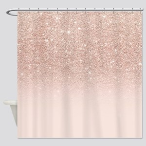 Modern girly rose gold glitter ombr Shower Curtain