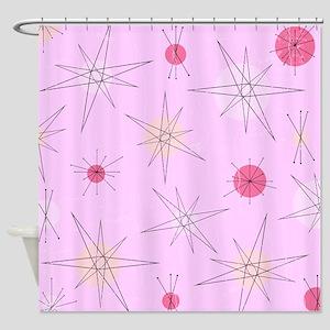 Pink Atomic Era Art Shower Curtain
