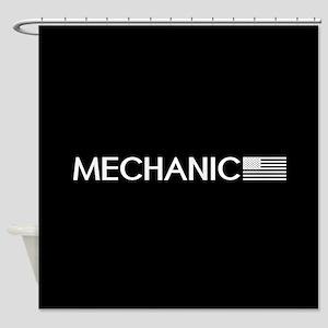 Mechanic: American Flag (White) Shower Curtain