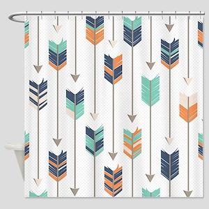 Tribal Arrows Pattern - Navy Orange Shower Curtain