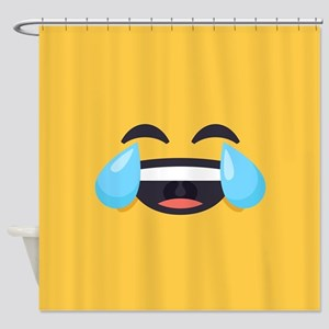 Cry Laughing Emoji Face Shower Curtain