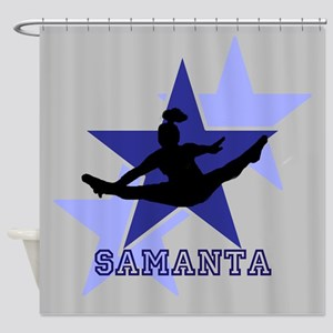 Gray and Blue Cheerleader Shower Curtain