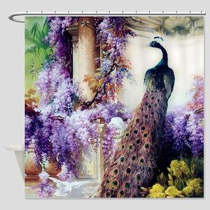 Bidau Peacock, Wisteria, Doves, Shower Curtain