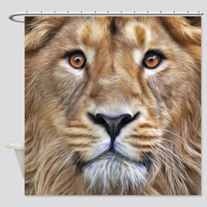 Realistic Lion Painting Shower Curtain